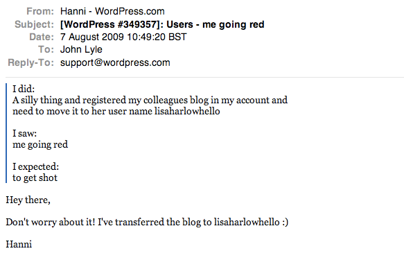 The helpful reply from the very clever Hanni at WordPress