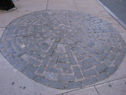 The stone circle to mark the site of the Boston Massacre in 1770