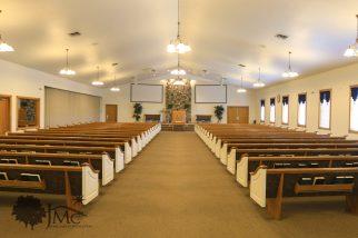 Large auditorium in church in Goshen, Indiana