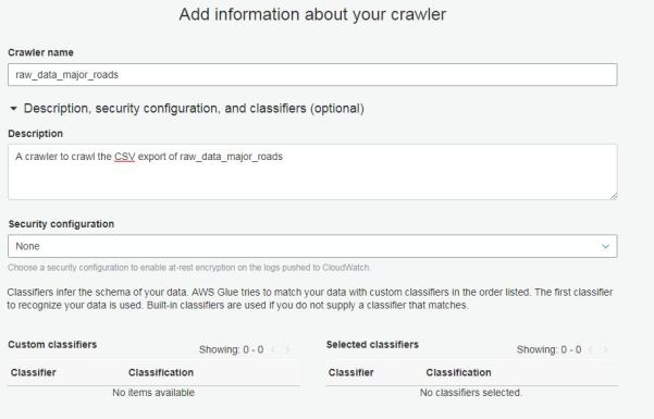 Glue crawler info