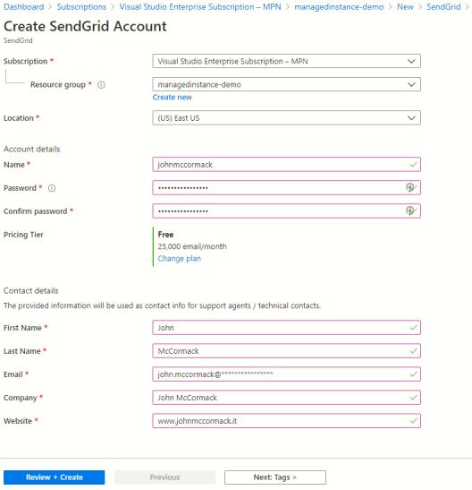 Create sendgrid account in Azure Portal