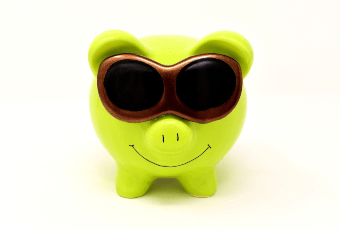 save money in azure - piggy bank with sunglasses
