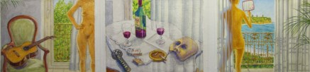 Intimate Strangers 2 (triptych) - Watercolor - 16 x 46 inches