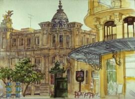 Los Correos, Valencia - Watercolor - 7 x 10 inches