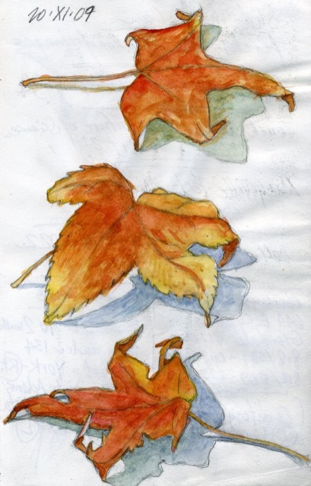 Three Leaves - Watercolor - 5 x 7 inches