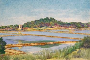 Las Salinas - Watercolor - 7 x 11 inches