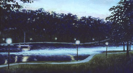 Lagoon, Lord's Park - Watercolor - 8 x 14