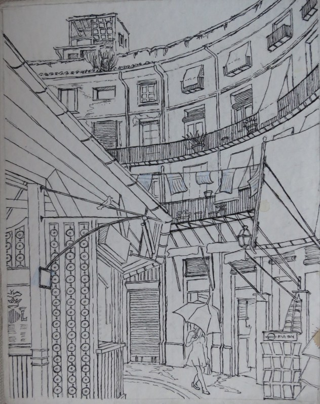 Mercado Redondo, Valencia, Spain - Pencil/paper - 7 x 10 inches