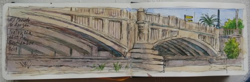 Puente Aragon - Watercolor - 3 x 12 inches