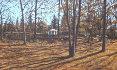 Loma Rica: Gazebo - Oil/canvas - 13 x 21 inches