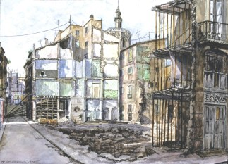 Barrio del Carmen - Watercolor - 21 x29 inches