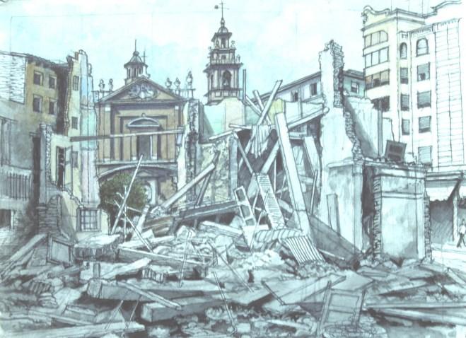 Escombros Study - Watercolor - 7 x 10 inches