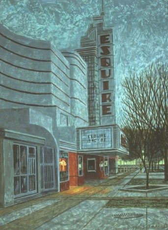 Esquire Theatre - Monoprint - 11 x 15 inches