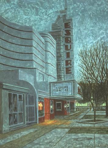Esquire Theatre - Monoprint - 11 x 15 inches