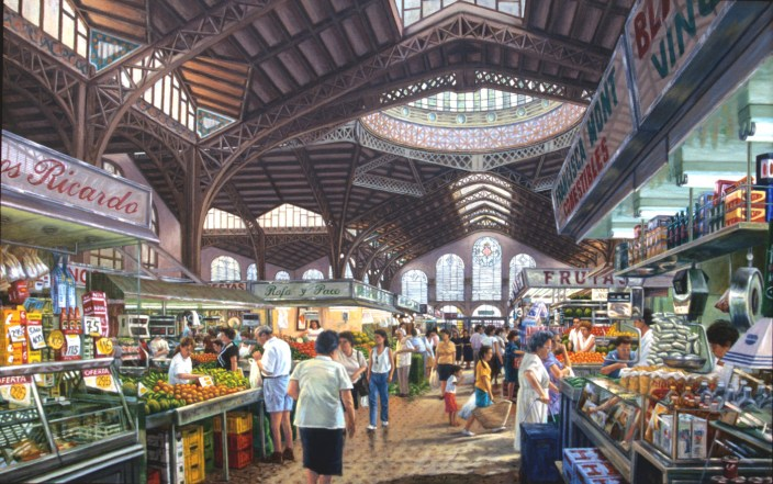 Mercado Central, Valencia - Oil/canvas - 40 x 60 inches