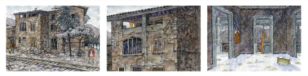 This Morning Long Ago - Watercolor - 17 x 47 inches