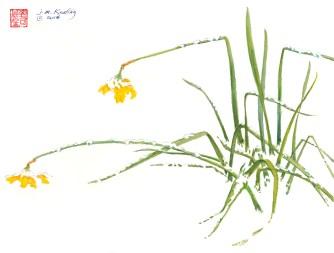 April Snow - Watercolor - 11 x 15 inches