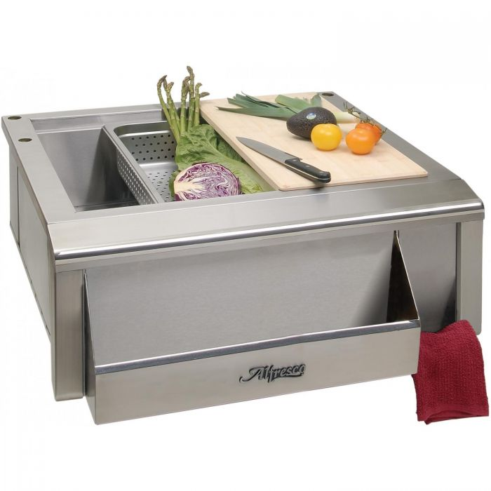 alfresco 30 inch outdoor rated versa apron sink with prep package