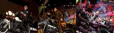 Elvis enters party on his Harley