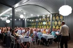 Feathertop winery barrell room wedding