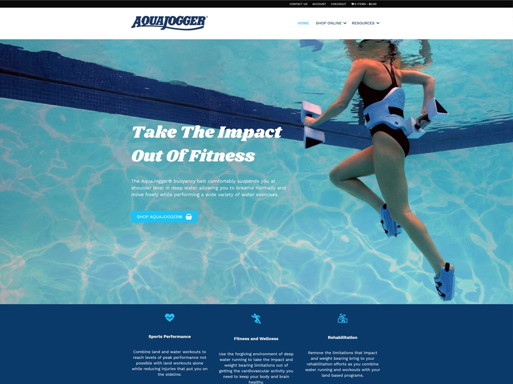 AquaJogger Website Screenshot