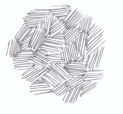 Draw small sets of interlocking lines, changing the direction of each set.