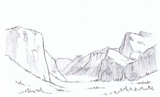 Use contour shading to show the planes of the cliffs. Yosemite Valley runs East-West so the North-facing slope is in shadow while the South-facing slope is bathed in sunlight. Note how the pen strokes can suggest the planes of the rock faces. Lighten your strokes as you move to the background elements.