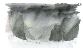 To create the effect of rain in front of dark cliffs, rewet some of the paper and lift out paint with a clean brush or paper towel. You may not be able to effectively lift our some types of paint or on some types of paper. Try test swatches before attempting this on your painting.