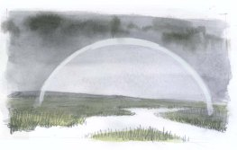 Underpaint the rainbow with permanent white gouache. Paint the marsh with a dull brown-green mixture, brightening to warm green in the foreground (warm colors tend to feel close to the observer).