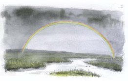 Using colored pencils, add orange, yellow-green and blue to the rainbow. The viewer will fill in the rest of the colors.
