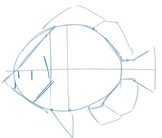 Block in the back edge of the gill plate and the proportions of the eye. Note that this eye is below the centerline.