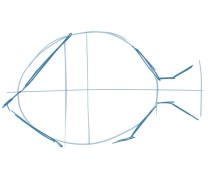 Carve in these negative shape angles. Note here that the forehead angle is longer than the area below the mouth so that the mouth is below the center line. Expect different mouth positions on different species.