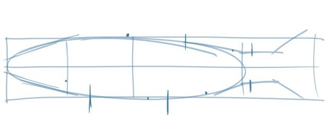 Add dots where the fins start and a line along the back edge of the fin to show the proportions and length of each fin.