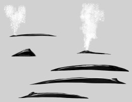 After the spout, look for the exposed back and dorsal fin. The two illustrations on the left are Humpback Whales. The four on the right are Blue whales.