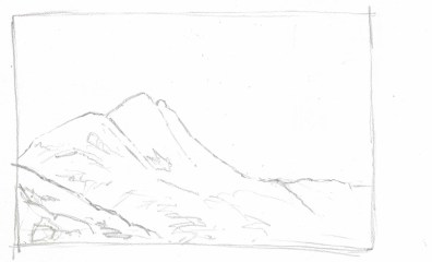 The painting begins with a light pencil sketch to block in the major masses of the mountain.