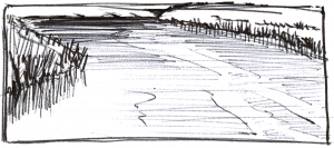 sketch of wide river with ball point pen