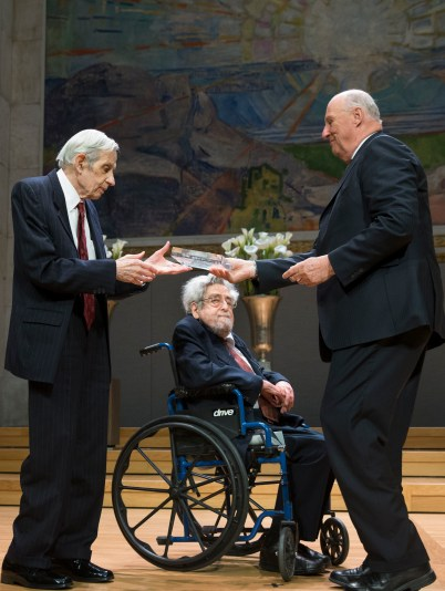 John F. Nash Jr. and Louis Nirenberg receive the 2015 Abel Prize from His Majesty King Harald V.