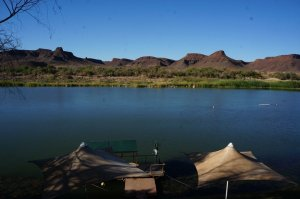 Day 2's campsite on the Orange River.