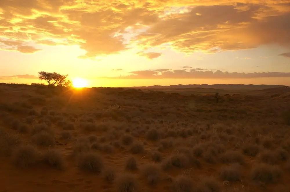 Amazing sunset over the Namibian landscape.