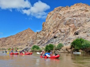 Canoeing down the Orange River.