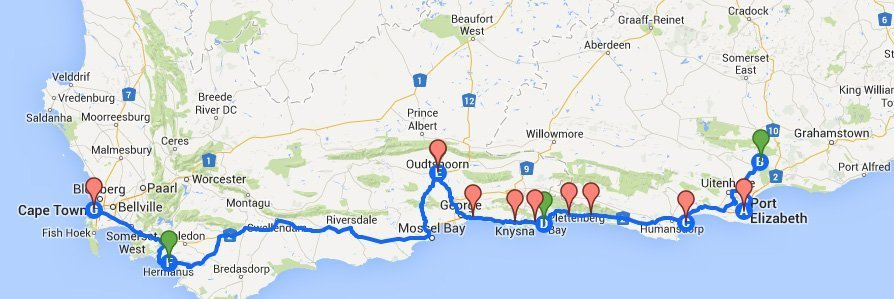 Our Garden Route Roadtrip map. Point A is where we started in Port Elizabeth. Thank you Google Maps!