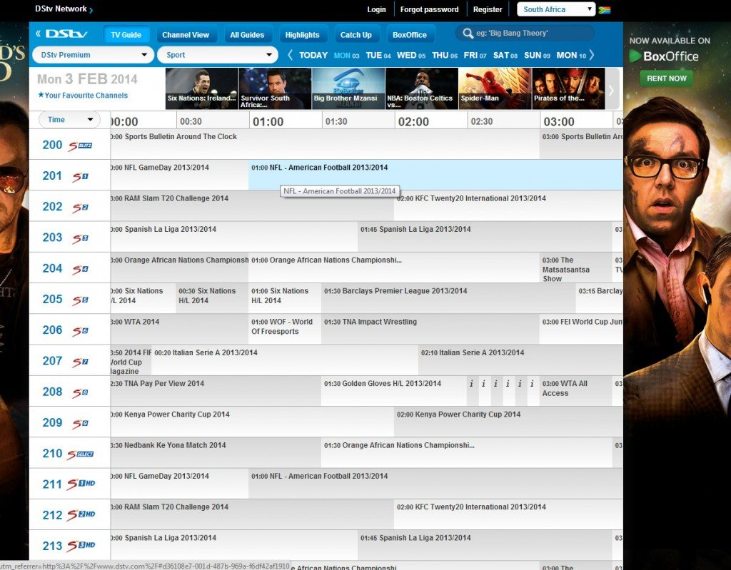 DSTV's superbowl listing.