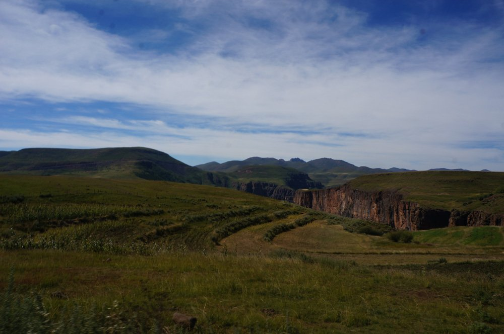 The vast, beautiful, and open Lesotho mountainside.