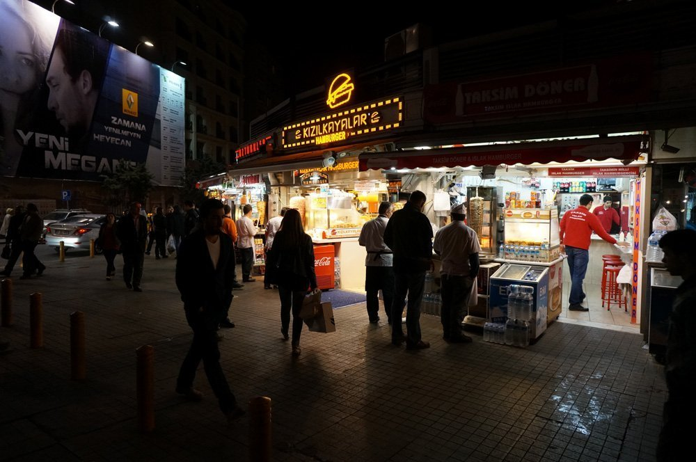 A street corner with a number of kebab shops near Taksim Square. Prepare to see thousands of these.