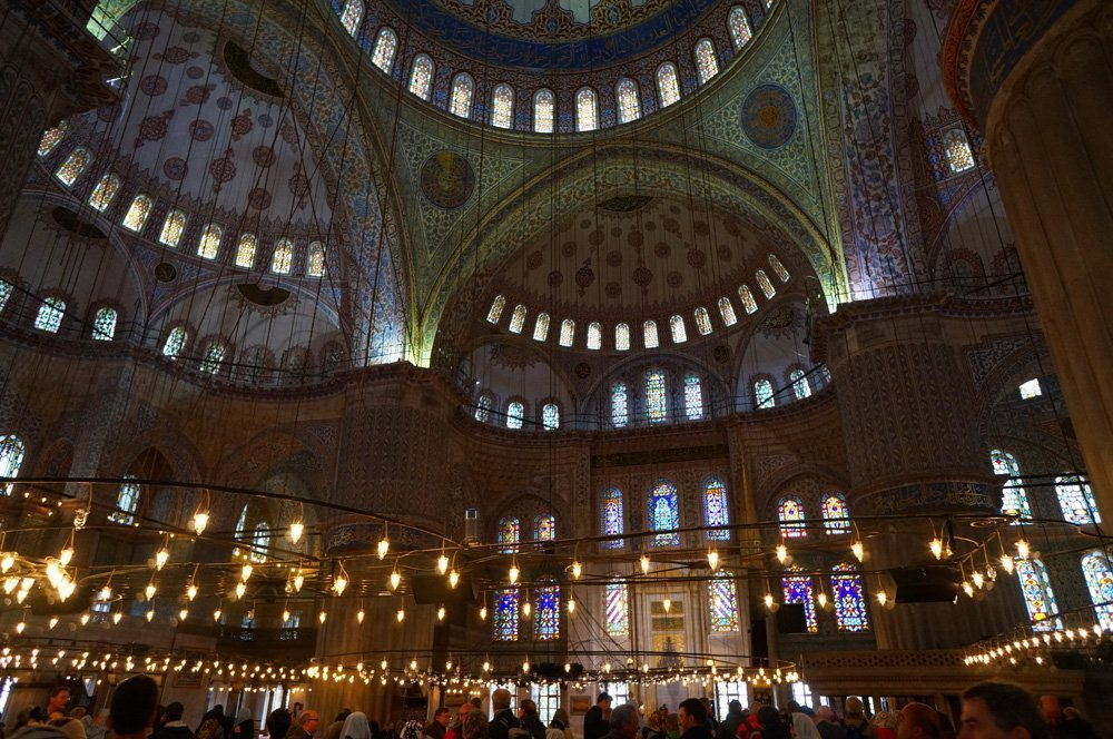 Inside of the Blue Mosque.