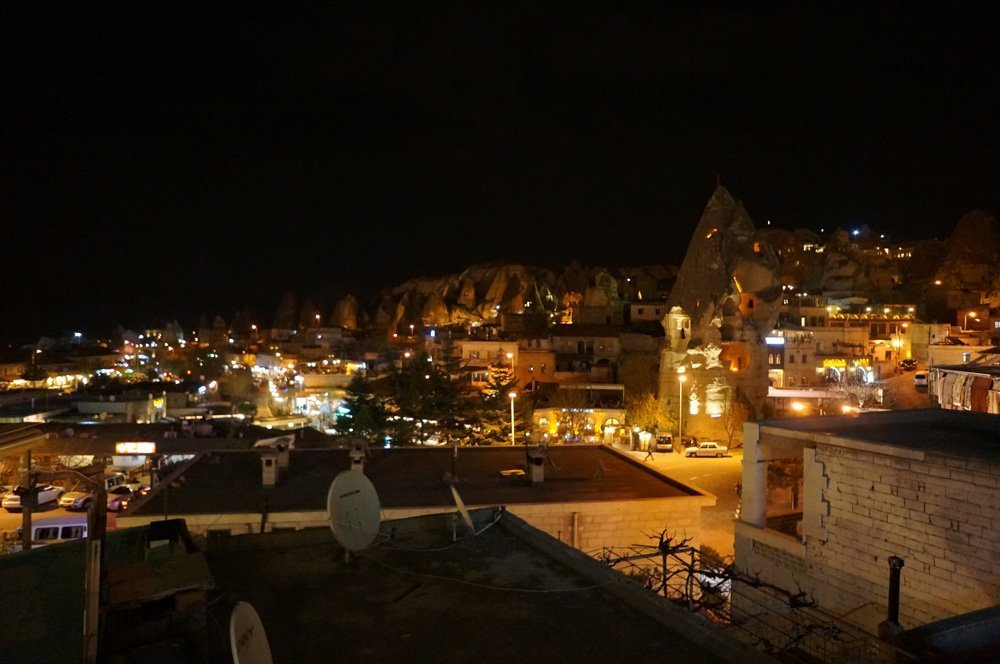 View from Manzara restaurant at night.