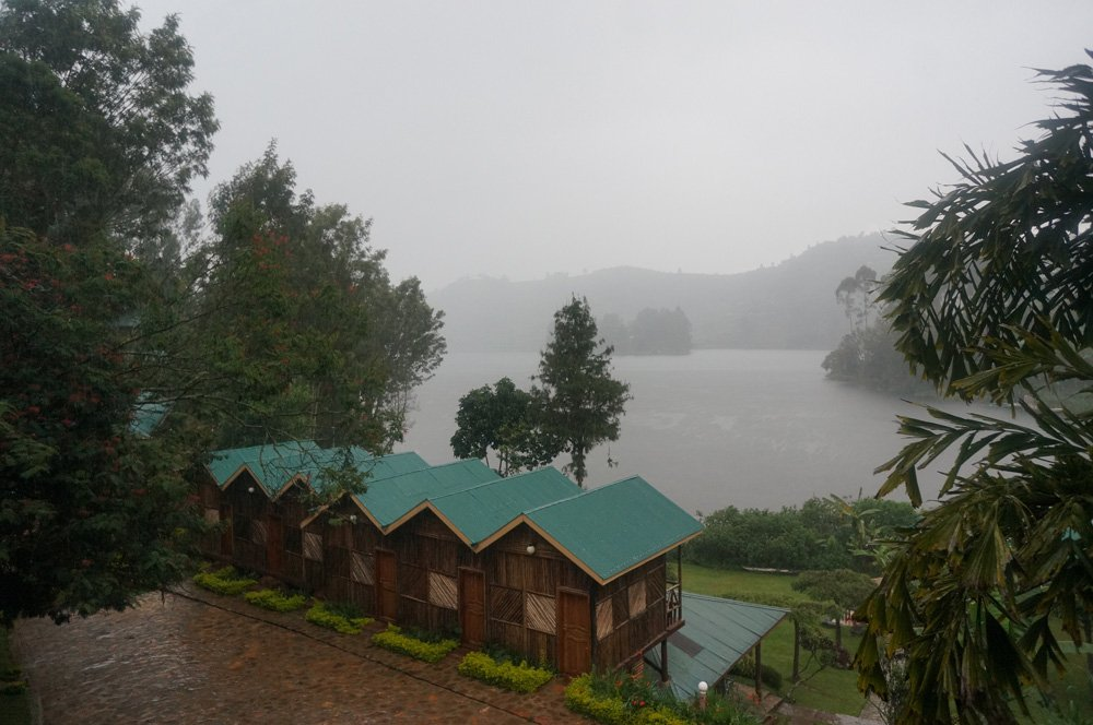 Raining heavily at our campsite at Lake Bunyonyi