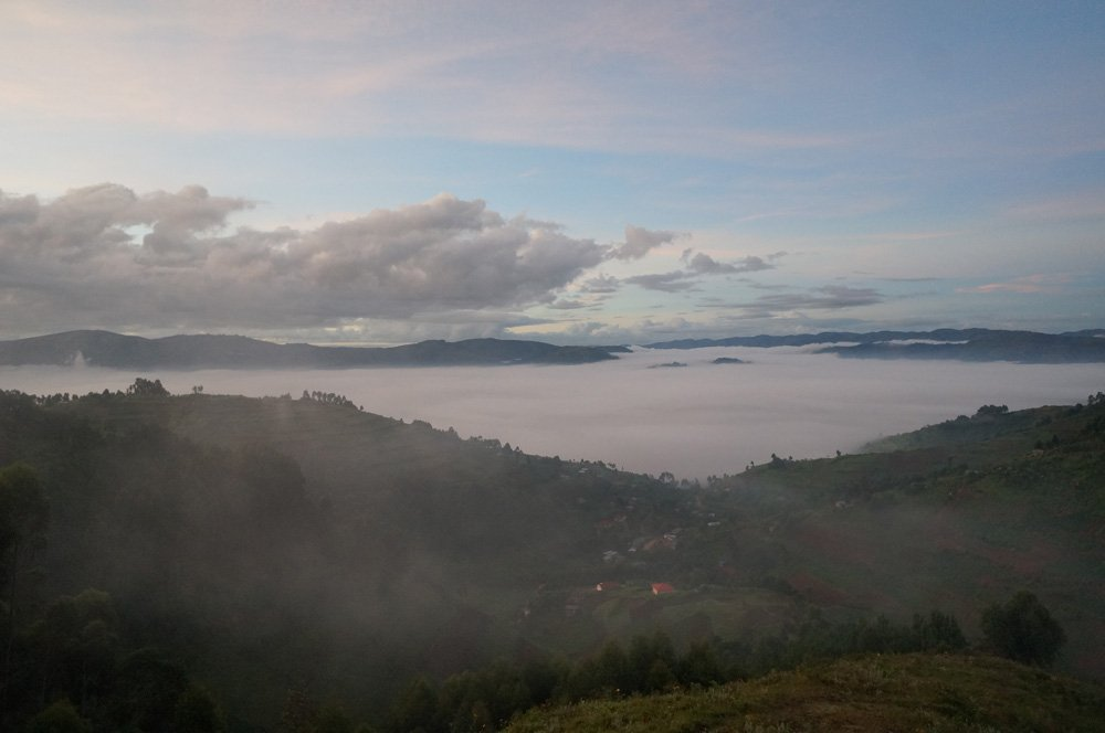 A misty but beautiful morning at the Bwindi Impenetrable Forest.