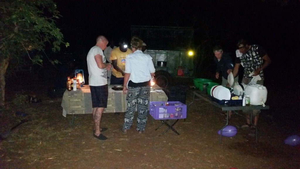 Dinner at our campsite in the middle of nowhere in the Chobe.
