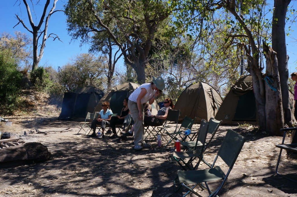 The group waiting for lunch after setting up our tents.